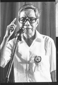 """林连玉先生在1980年""""八十大寿""""晚宴上公开演讲。"""