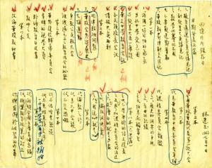 林连玉先生写于1963年7月间的《回忆片片录》存目手稿(11本)。后来黄润岳先生用作工作稿,添加的符号、框线即他的笔迹。